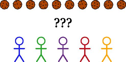 Ten cookies and five students
